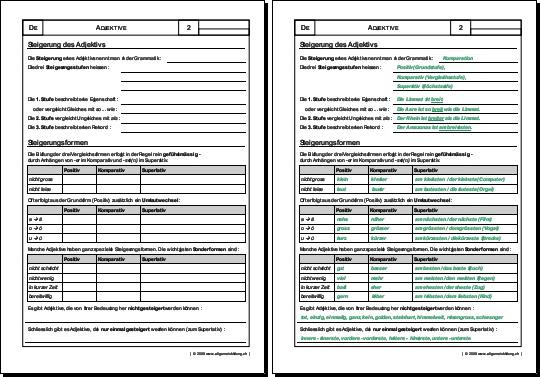 Deutsch Arbeitsblatt Adjektive Steigerung 8500 Ubungen