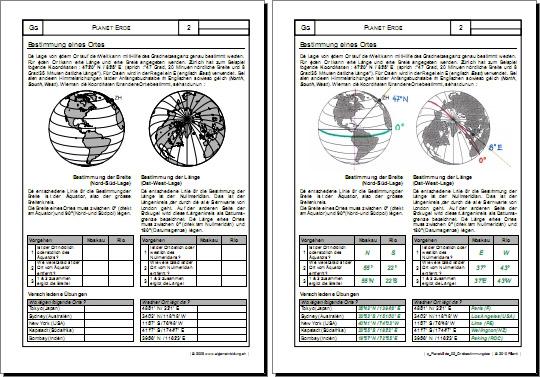 Planet Erde Ortsbestimmung Gratis Geografie Arbeitsblatt