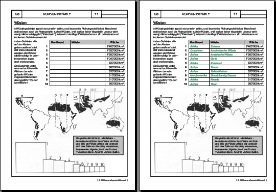Welt Wüsten Gratis Geografie Arbeitsblatt 8500