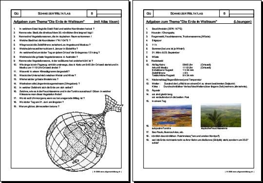 Planet Erde Gratis Geografie Arbeitsblatt 8500