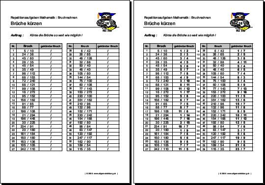 Mathematik & Geometrie | Arbeitsblatt Brüche kürzen | 8500 ...