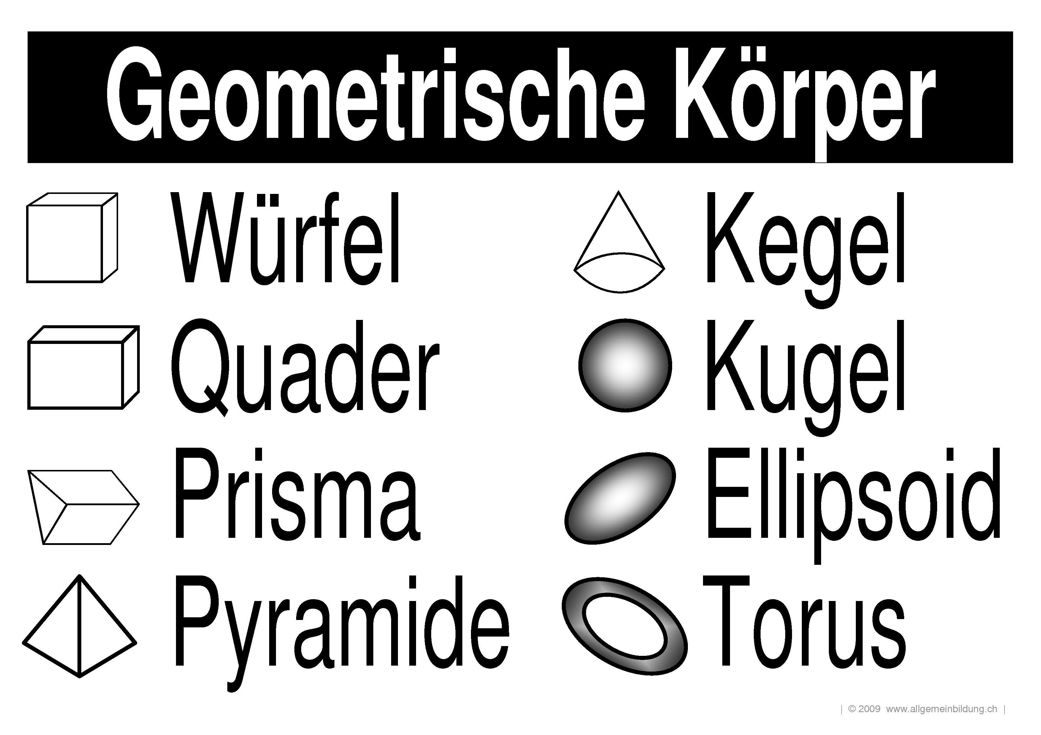 Geometrische Körper   gratis Mathematik/Geometrie Lernplakat ...